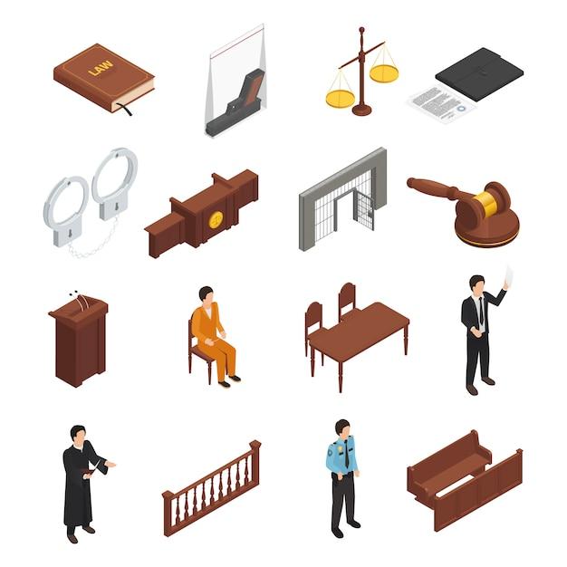 Isometrische ikonensammlung der gesetzesgerechtigkeitssymbole Kostenlosen Vektoren