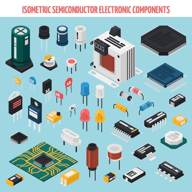 Isometrische ikonenset der halbleiterelektronischen komponenten Kostenlosen Vektoren