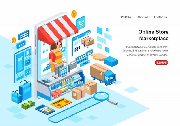 Isometrische illustration 3d des on-line-einkaufssystems im markt mit intelligentem telefon, administrator, kreditkarte, kurier und illustrationsvektor auf lager Premium Vektoren
