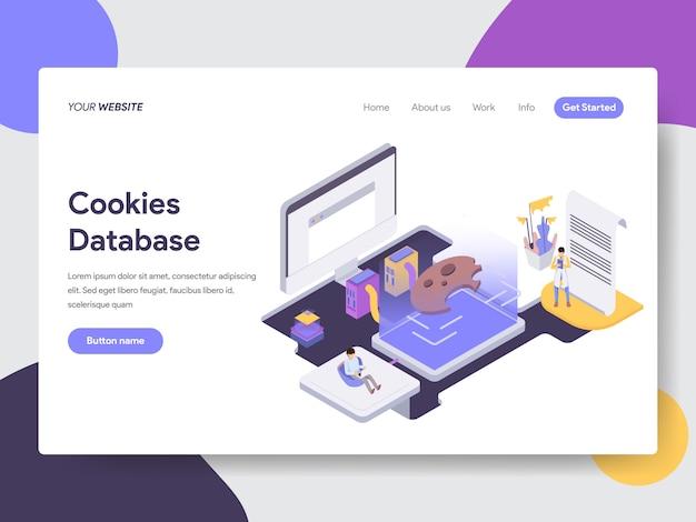 Isometrische illustration der cookies-datenbank für webseiten Premium Vektoren