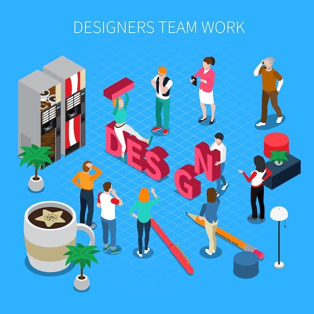 Isometrische illustration der designerteamwork mit schuhen und stiefeln Kostenlosen Vektoren