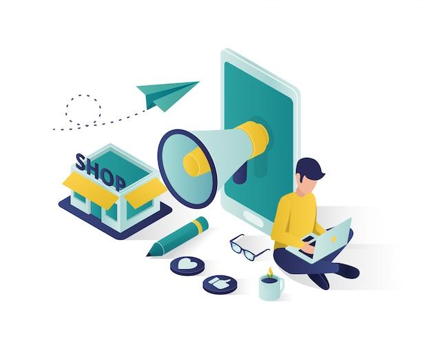 Isometrische illustration der geschäftsförderung, social media, das isometrische illustration vermarktet. Premium Vektoren
