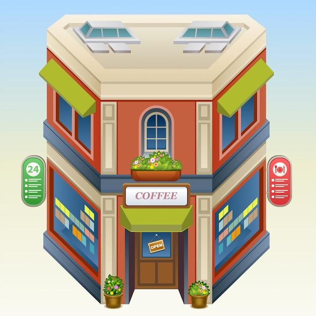 Isometrische illustration der kaffeestube Premium Vektoren