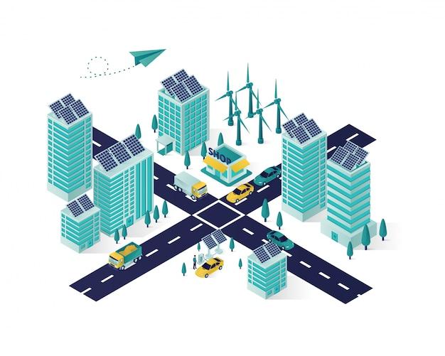 Isometrische illustration der sonnenkollektorenergie-stadt Premium Vektoren