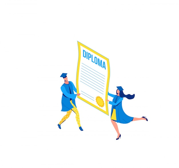 Isometrische illustration der staffelung, absolvent, die diplom halten Premium Vektoren