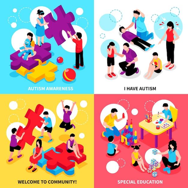 Isometrische illustration des autismusbewusstseins stellte mit verhaltensproblemen und krankheitssondererziehung und -gemeinschaft ein Kostenlosen Vektoren