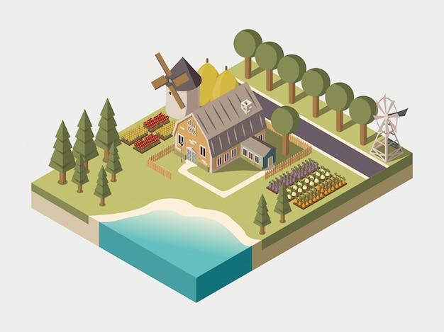 Isometrische illustration des bauernhauses Kostenlosen Vektoren