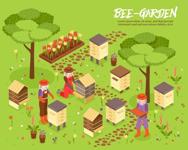 Isometrische illustration des beegarden-bienen-yard Kostenlosen Vektoren
