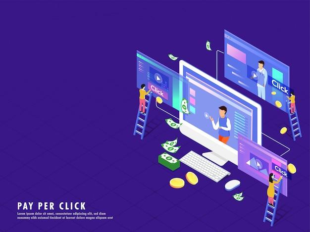 Isometrische illustration des desktops mit videospielbildschirm. Premium Vektoren