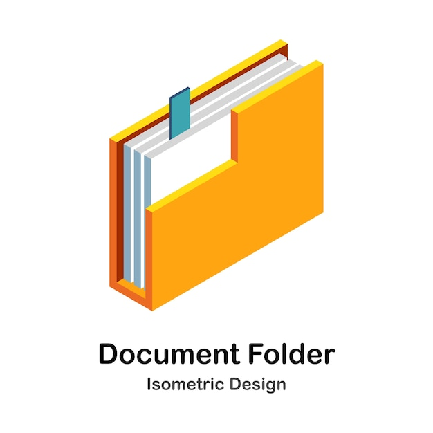 Isometrische illustration des dokumentenordners Premium Vektoren