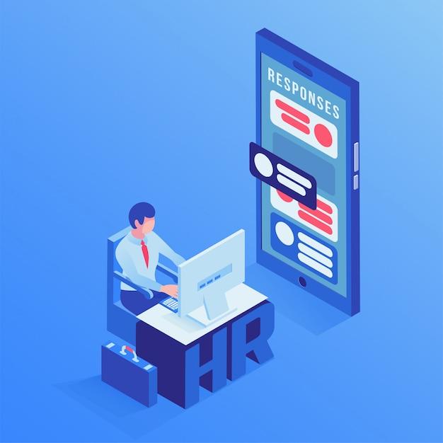 Isometrische illustration des hr-agentenbüros Premium Vektoren