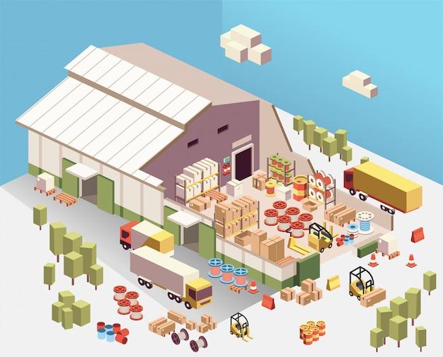 Isometrische illustration des industriellen lager-ausschnitts nach innen, mit lkw, kasten, fass, spulenseil, gabelstapler Premium Vektoren