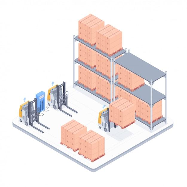 Isometrische illustration des intelligenten lagers Premium Vektoren