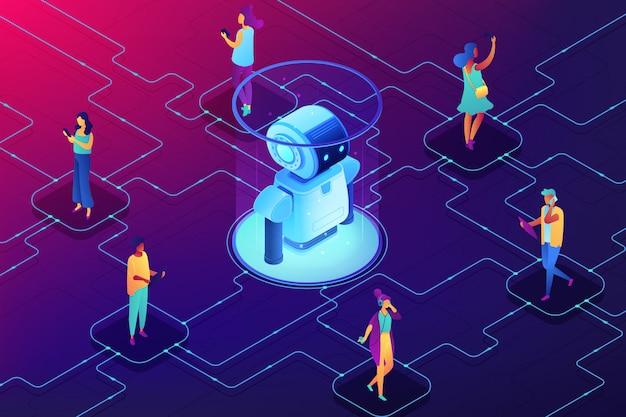 Isometrische illustration des konzepts der sozialen robotik. Premium Vektoren