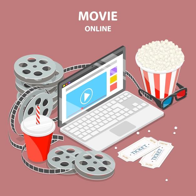 Isometrische illustration des online-films flach. Premium Vektoren