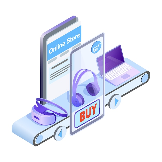 Isometrische illustration des online-shops mobile app Premium Vektoren