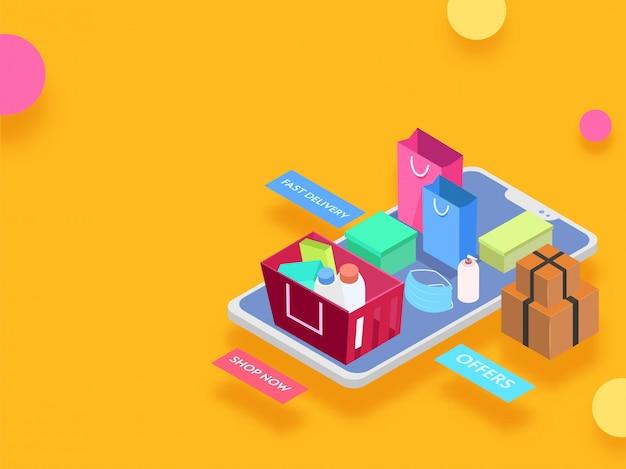 Isometrische illustration des smartphones mit paketboxen, tragetasche und kaufprodukt im korb für online-einkaufskonzept. Premium Vektoren