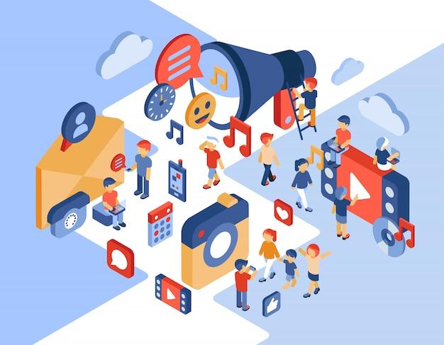 Isometrische illustration des social networking und der kommunikation Premium Vektoren