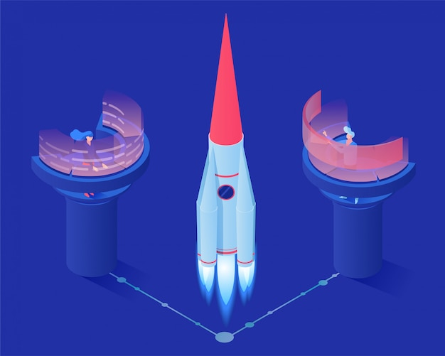 Isometrische illustration des weltraumraketenstartvektors Premium Vektoren
