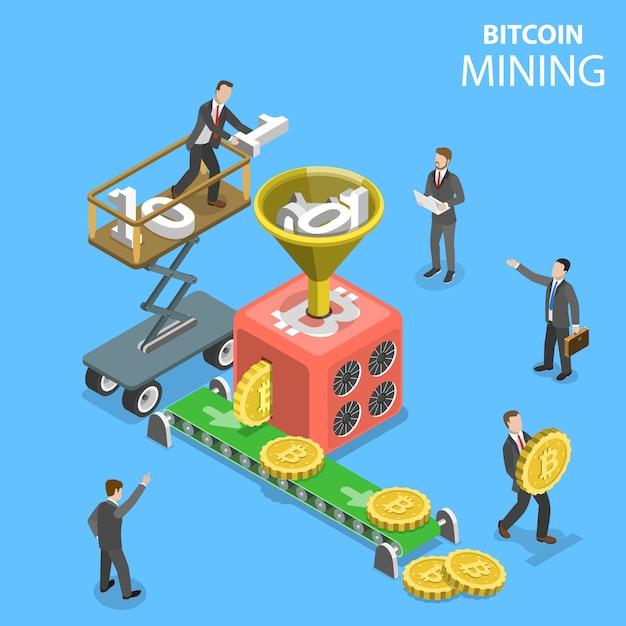 Isometrische illustration illustration des cryptocurrency mining. Premium Vektoren