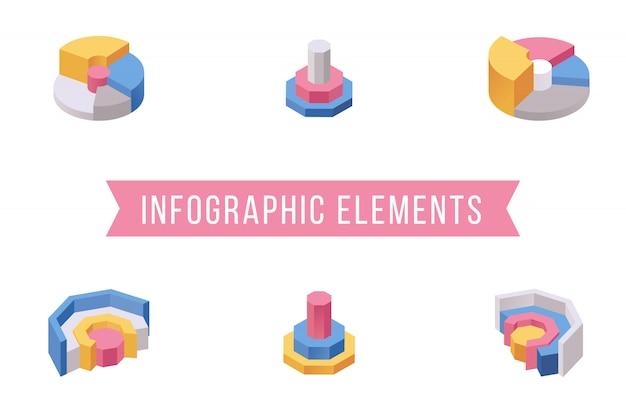 Isometrische illustrationen der kreisdiagrammelemente eingestellt Premium Vektoren