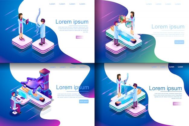 Isometrische illustrations-virtuelle medizinische forschung Premium Vektoren