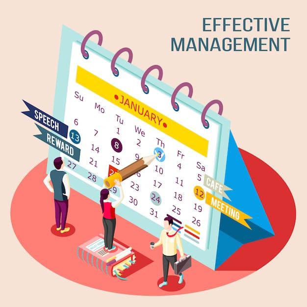 Isometrische illustrationszusammensetzung des effektiven managementkonzepts mit bildern von personen, die zeichen im terminkalender machen Kostenlosen Vektoren