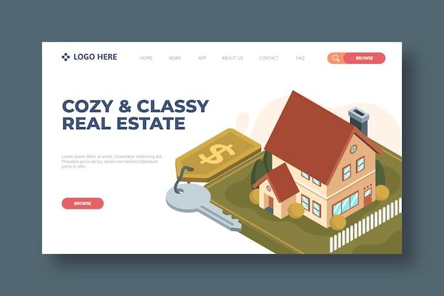 Isometrische immobilien-landingpage-vorlage Kostenlosen Vektoren