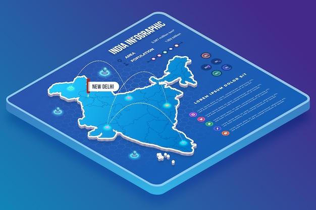 Isometrische indien karte infografiken vorlage Kostenlosen Vektoren