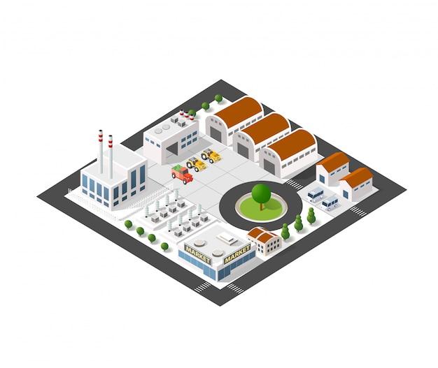 Isometrische industrielandschaft Premium Vektoren