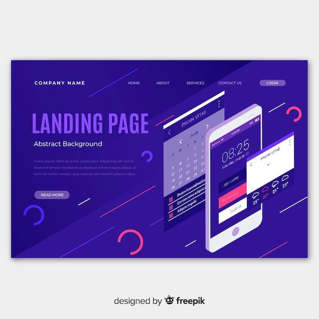 Isometrische infografik-landingpage Kostenlosen Vektoren