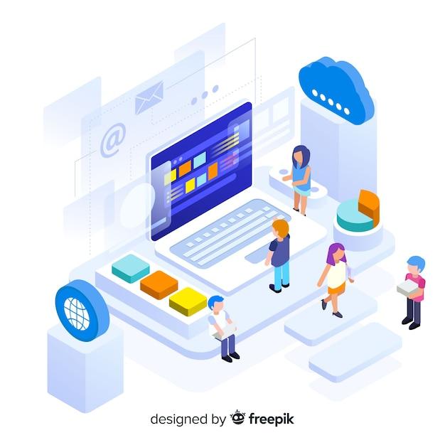 Isometrische infografik mit diagrammen und menschen Kostenlosen Vektoren