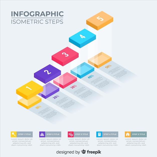 Isometrische infografik schritte packung Kostenlosen Vektoren
