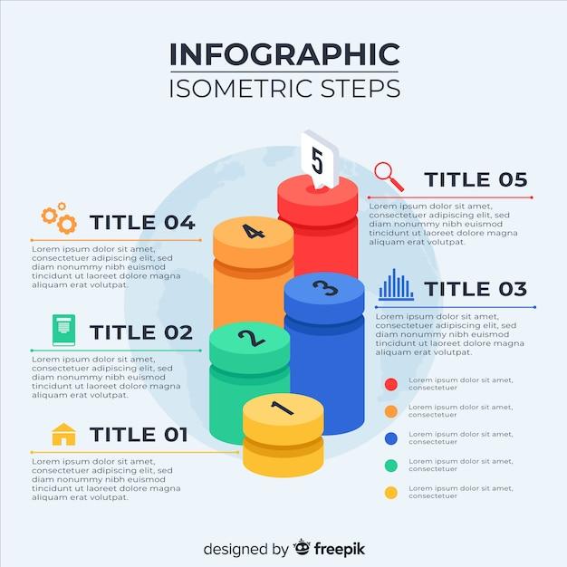 Isometrische infografik schritte vorlage Kostenlosen Vektoren