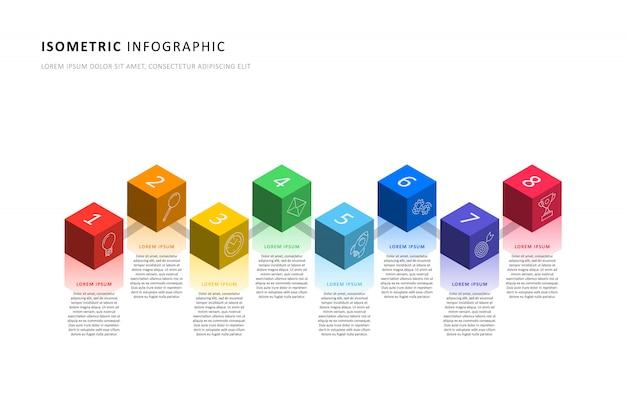Isometrische infografik timeline-vorlage mit realistischen 3d-cubic-elementen. modernes geschäftsprozessdiagramm Premium Vektoren