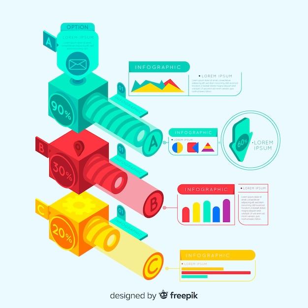 Isometrische infografik Kostenlosen Vektoren