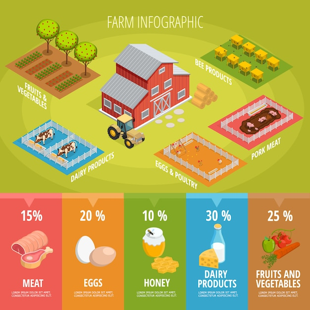 Isometrische infografiken für landwirtschaftliche lebensmittel Kostenlosen Vektoren