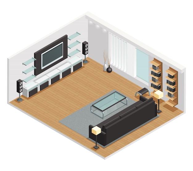 Isometrische innenansicht des wohnzimmers mit großer lcd-bildschirmfernseheredercouch und couchtisch Kostenlosen Vektoren