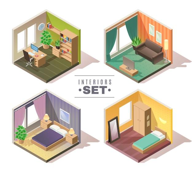 Isometrische innenausstattung eingestellt. satz von vier isometrischen wohninnenräumen kabinett schlafzimmer kinderzimmer halle auf weißem hintergrund Premium Vektoren