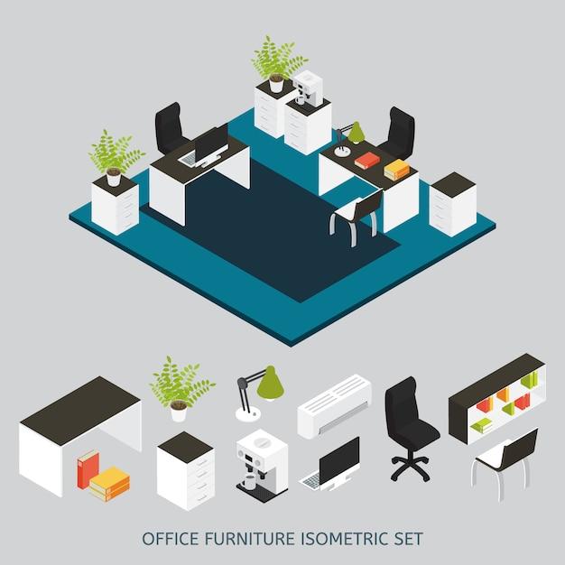 Isometrische innenausstattung mit büroarbeitsplatz und möbliertem büro Kostenlosen Vektoren