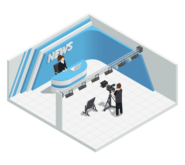 Isometrische innenausstattung mit video-tv-live-nachrichtensendestudio-beleuchtungssatz-kamera-host-cam Kostenlosen Vektoren