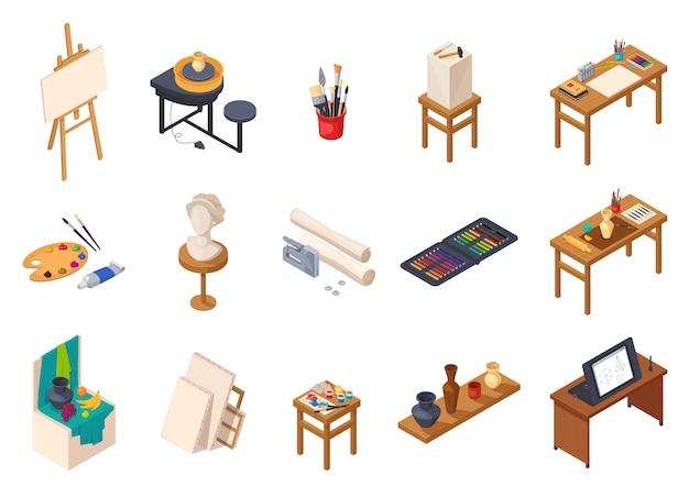 Isometrische innenelementsammlung des kunststudios mit lokalisierten malereiausrüstung schreibt tabellenregale mit trainingsproben vector illustration Kostenlosen Vektoren