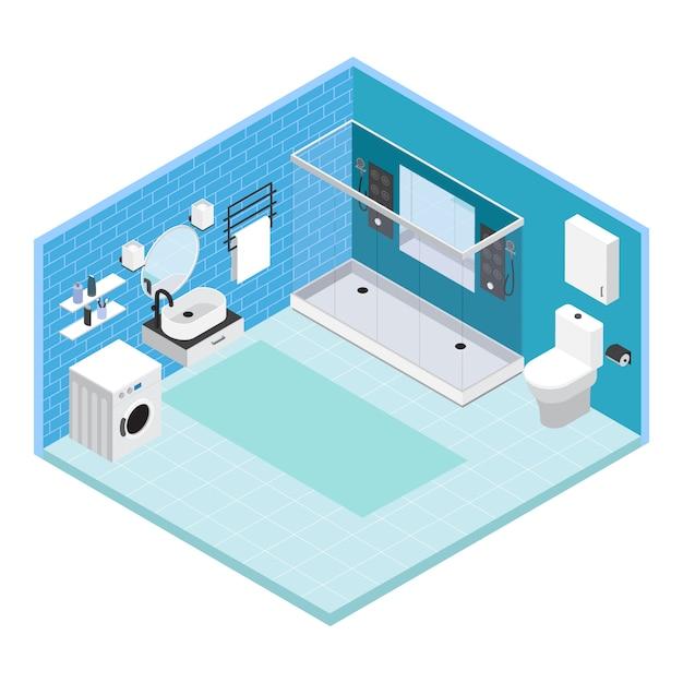 Isometrische innenraumbadezimmerzusammensetzung mit fliesen an den wänden mit dusche und waschmaschine Kostenlosen Vektoren