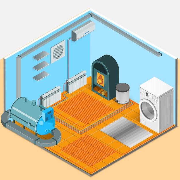 Isometrische innenschablone für heizungskühlsystem Kostenlosen Vektoren