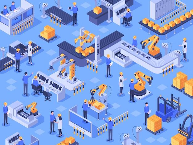 Isometrische intelligente industriefabrik. automatisierte produktionslinie, automatisierungsindustrie und fabriken ingenieurarbeiter vektorillustration Premium Vektoren