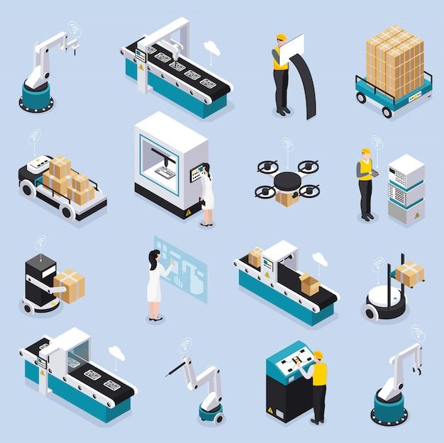 Isometrische intelligente industrieikone gesetzt mit roboterwerkzeugen und ausrüstungsdienstarbeitern und wissenschaftlernvektorillustration Kostenlosen Vektoren