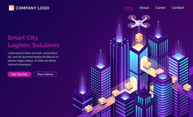 Isometrische isometrische landingpage der smart city-zukunft Kostenlosen Vektoren