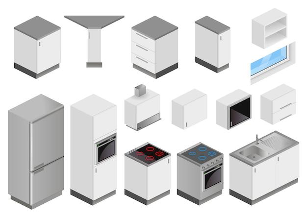 Isometrische kästen ausrüstung für küchenprojekt Premium Vektoren