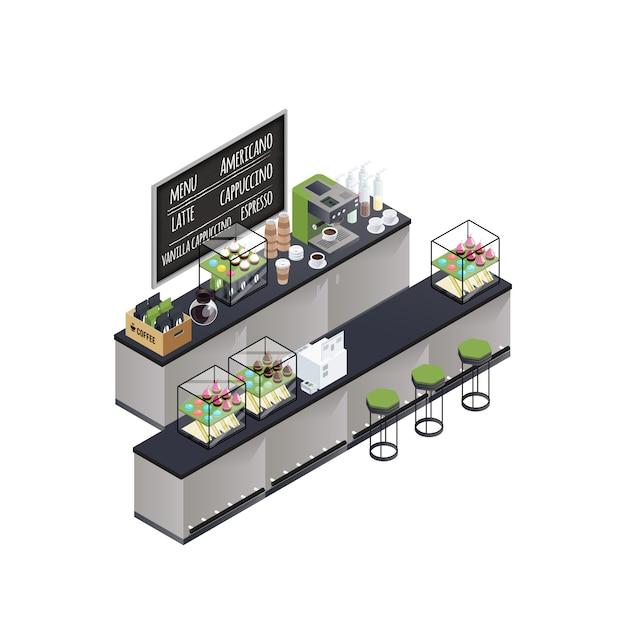 Isometrische kaffee-bar-zusammensetzung Kostenlosen Vektoren