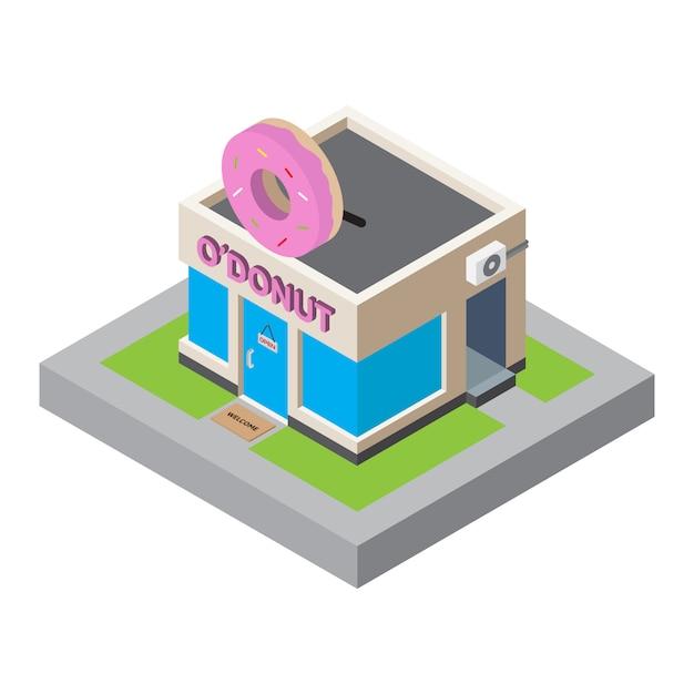 Isometrische karte des donuts-shop-gebäude-3d für kartenelement Premium Vektoren